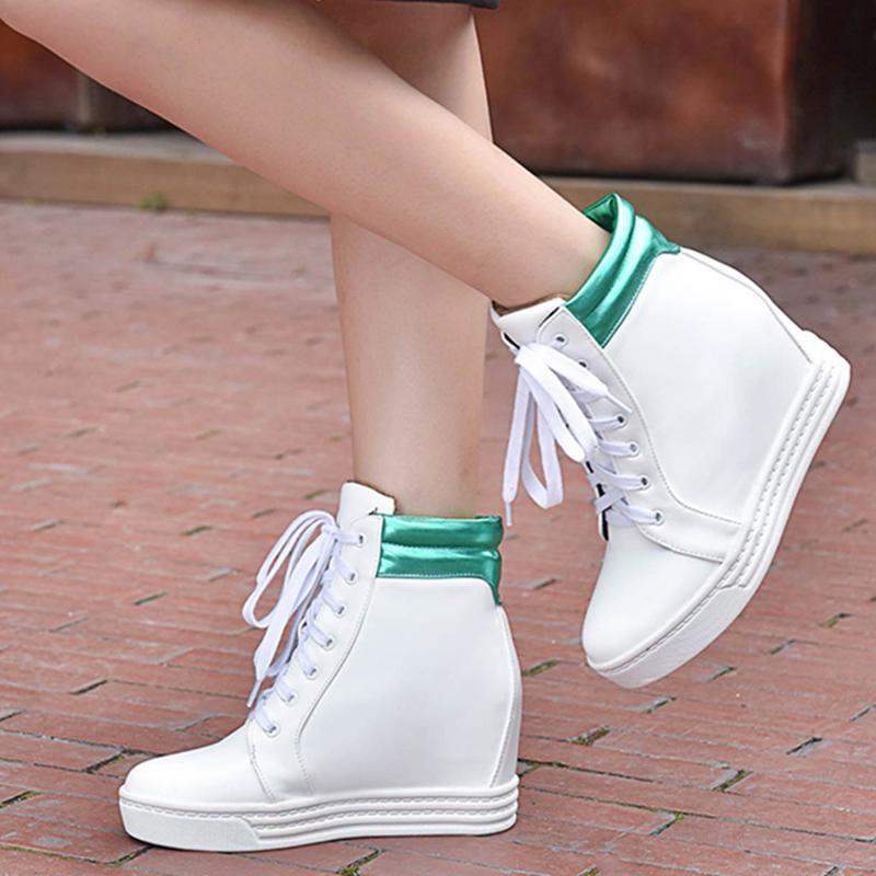 White Women Sneakers Casual Shoes Woman Platform Hidden Heel Increasing Wedge PU Leather High Top Ankle Boots 210521