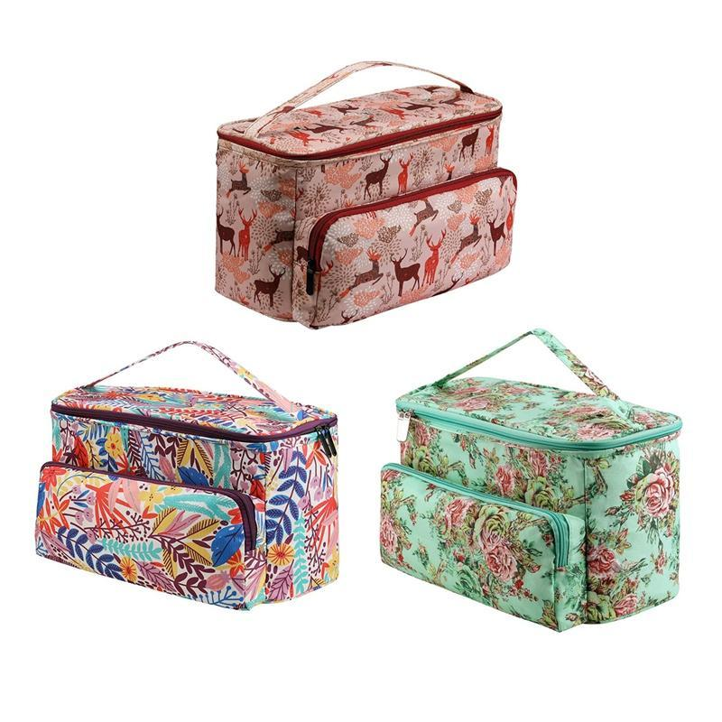Storage Bags Yarn Organizer Tote Bag Holder With Zipper Closure And Pocket For Knitting Needles Crochet Hooks Project