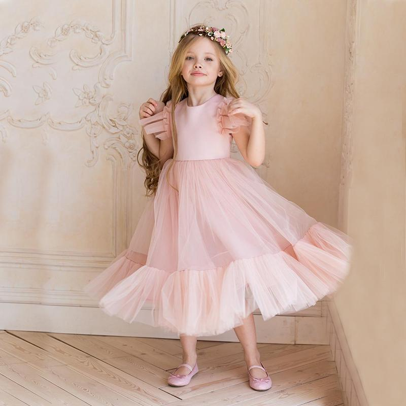 Children Bridemaid Wedding Flower Girls' Dresses For Kids Pink Tulle Gowns 2021 New Girls Boutique Party Pageant Dress