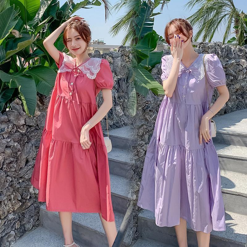 9017# Maternity Dress Summer Cotton Short Sleeves Midi Loose Stylish Pregnant Women Mom Dresses