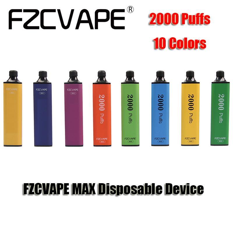 Originale FZcvape Max Monouso E Sigarette Dispositivo 2000 Puffs 1000mAh Batteria 5ml Cartuccia di cartuccia prerientata Pods Triangolare Prisma Penna Vai Autentico VS Bang XXL
