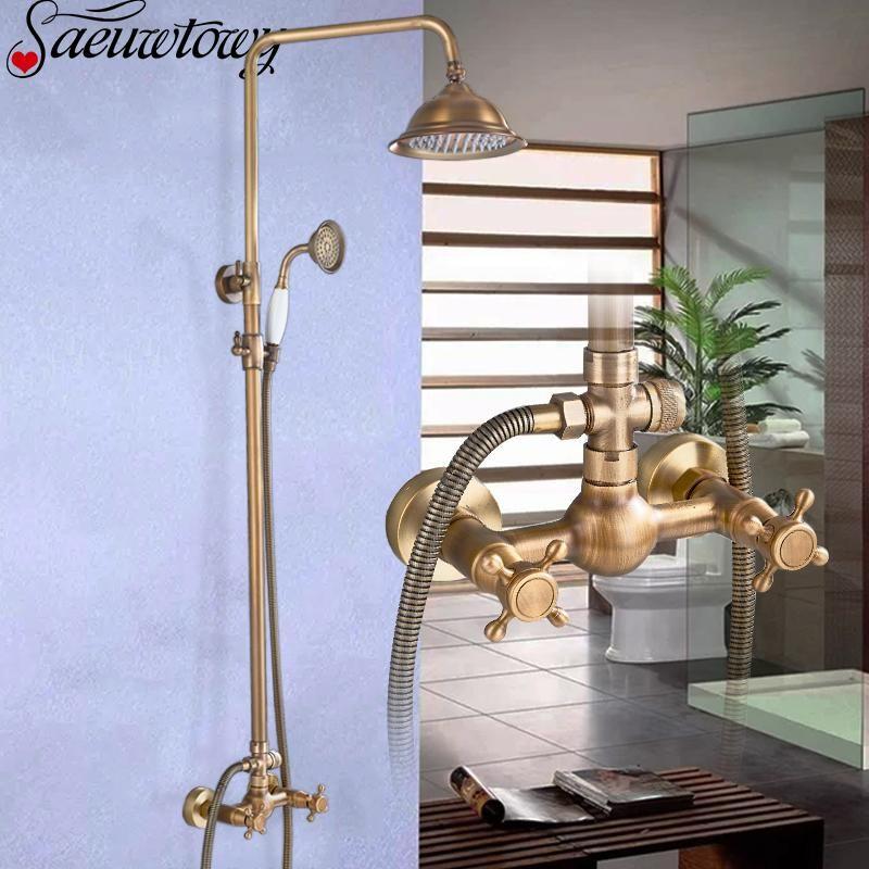 Antique Brass Bathroom Shower Faucet Set Wall Mount With Handshower Shelf Bracket Ceramic Hand Spout Sets