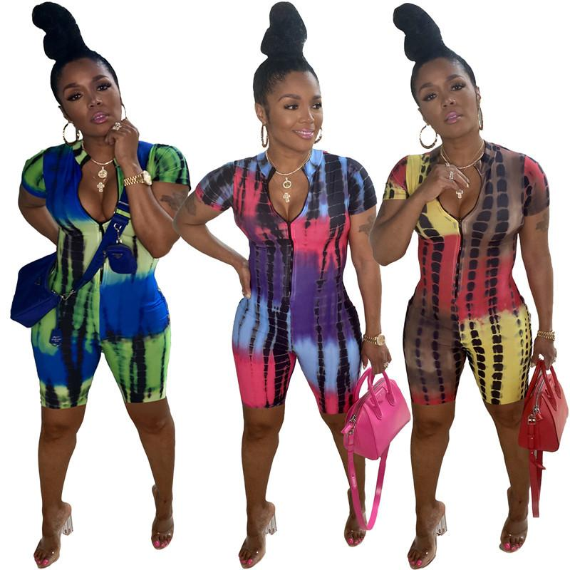 Массовые сексуальные женские комбинезоны комбинезоны одно цельные шорты элегантные моды печати V-образным вырезом Bodycon Skinny комбинезон пуловер комфортабельный Clubwear 1316