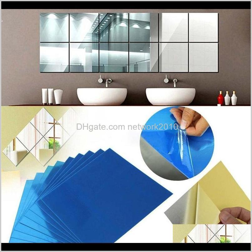 Stickers Mirror Surface Modern Wall Decor Decals 0Dot1Mm Square Acrylic Self Adhesive Sticker For Living Room Bathroom Walls Perfect Z 0V4Hx