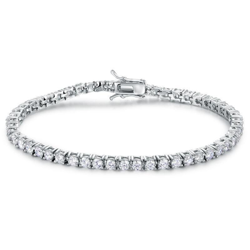 Eonb004 S925 Fashion Cubic Zironia 7.5-inch Tennis Bracelet Women Elegant Wedding Jewelry GirlFriend Gift Bangle
