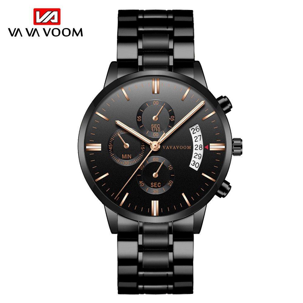 VAVA voom VA-214 달력 시계 스테인레스 스틸 남자 브랜드 시계 30m 방수 남성 시계 캐주얼 쿼츠 손목 시계 Relogio Masculino Business Wristwatches