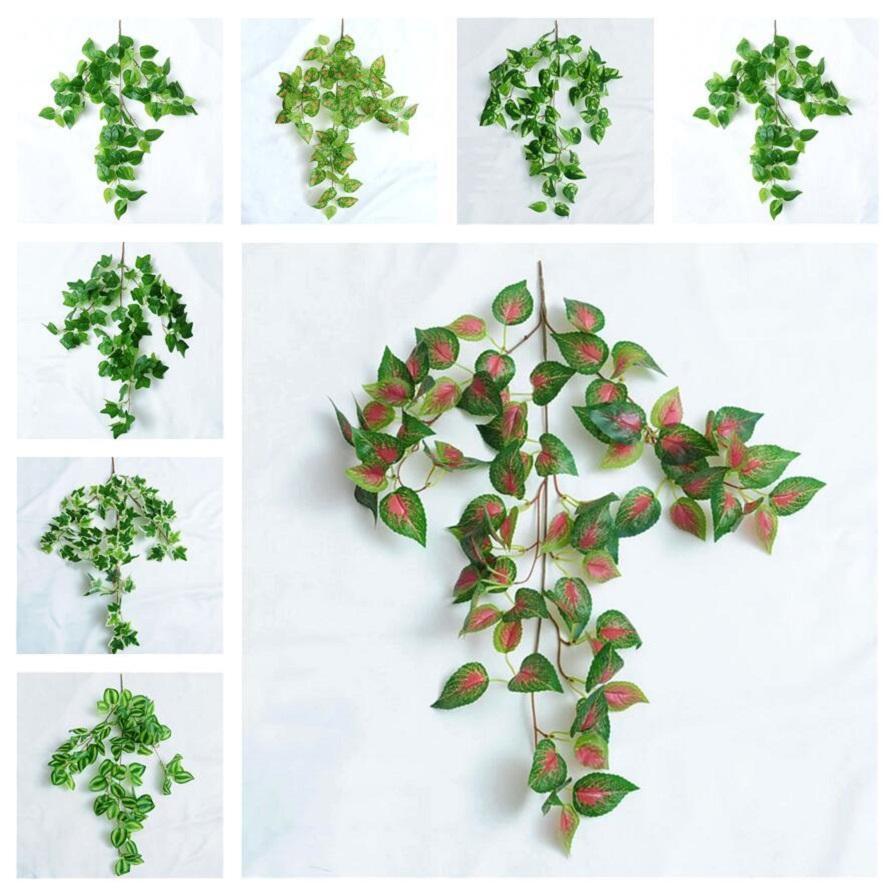 인공 녹색 실크 교수형 잎 정원 장식 8 스타일 화환 식물 포도 나무 메이플 포도 홈 웨딩 파티에 대 한 나뭇잎