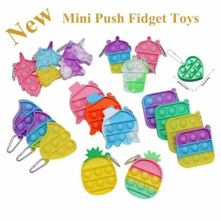Chaveiro Mini Fidget Fidget Brinquedos Sensory Bubble Com Keychain Autism Squishy Stress Relief Toy para Crianças Adulto Engraçado Brinquedo DHL DHL Shipping CJ22
