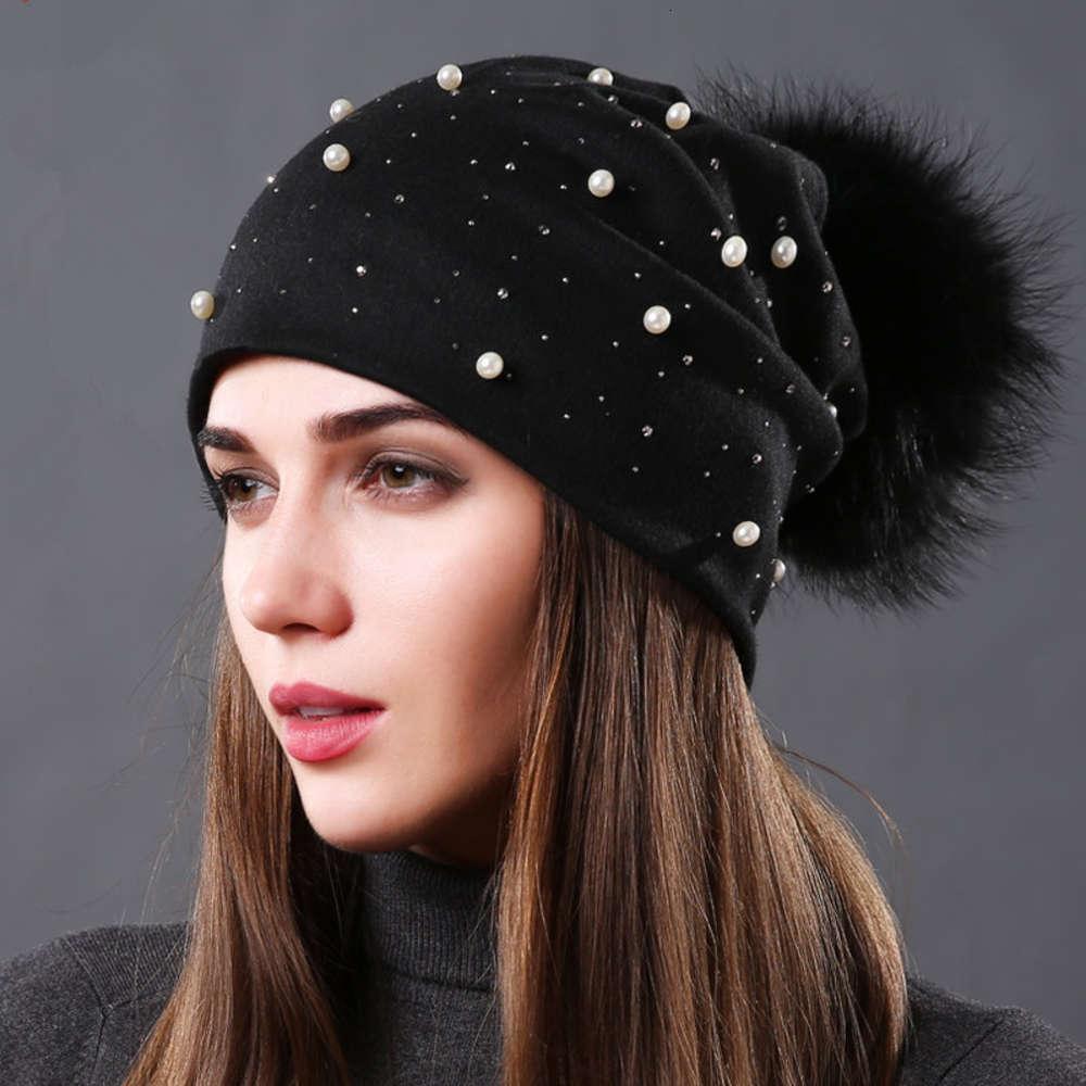진주 더블 레이어 면화 헤드 기어 가을과 겨울 다목적 패션 너구리 개 공 모피 여성의 따뜻한 모자