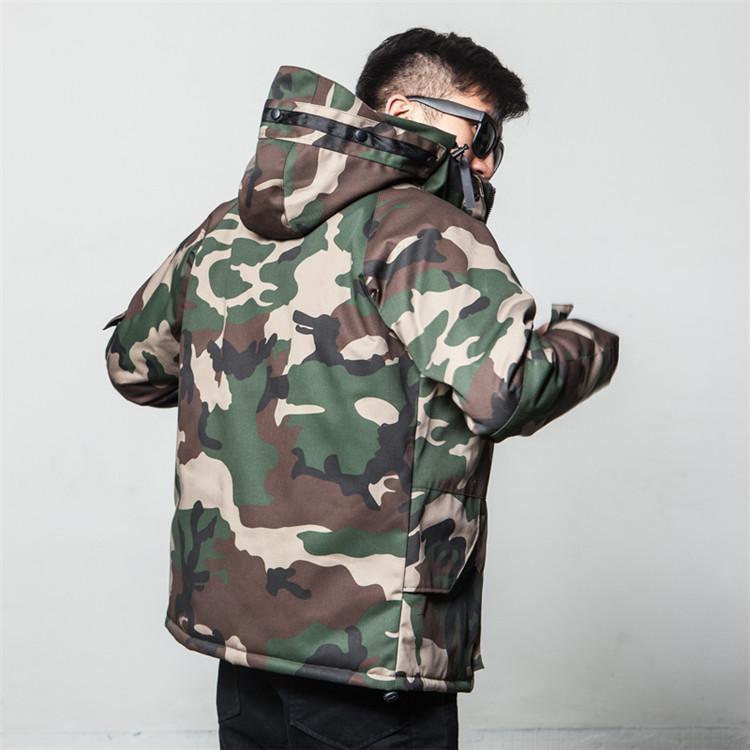 겨울 위장 코 튼 자켓 남성 패션 브랜드 아메리칸 코트 후드 코튼 패딩 큰 크기 쉘 커플 다운 파카