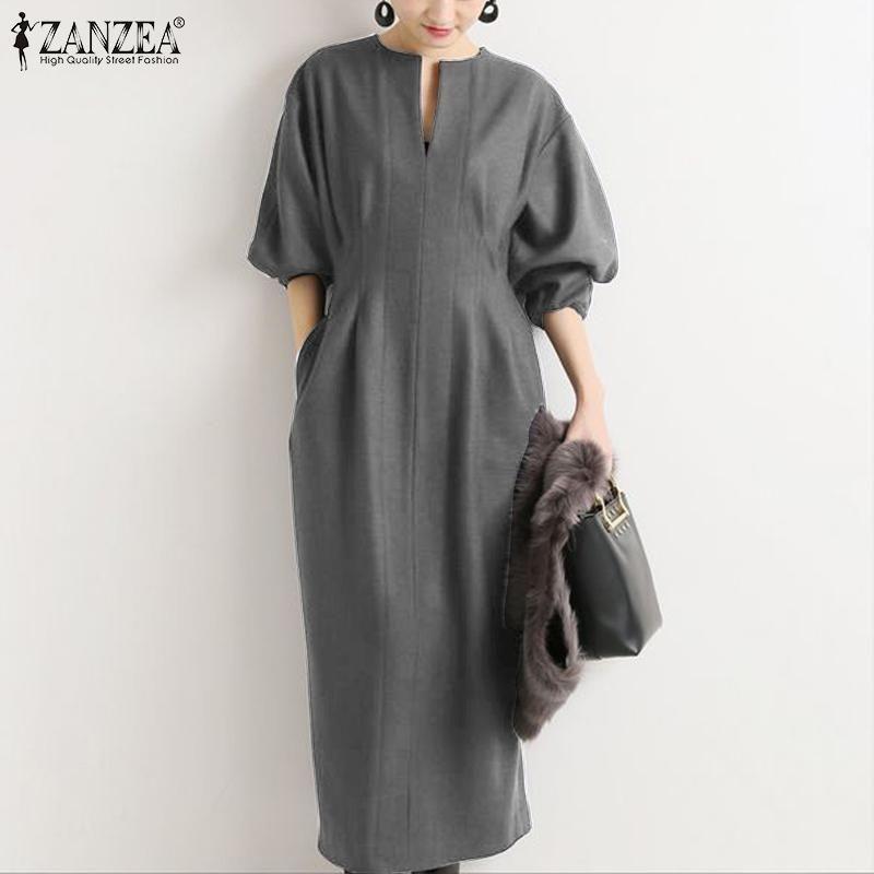 Elegante manica a soffio da donna Maxi Dress Zanzea 2021 Solid Spring Casual Long Vestidos V Neck Sundress Robe femmina abiti da 5xl