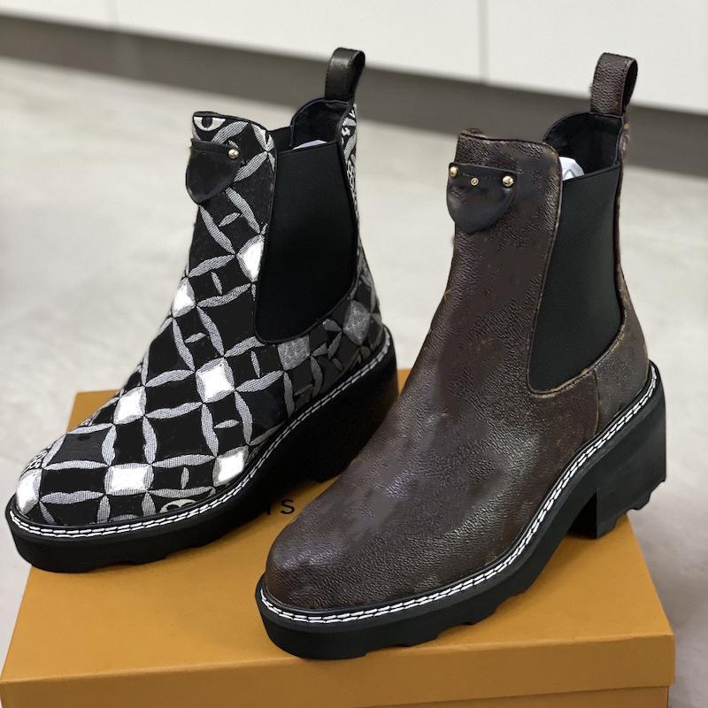 Moda Beaubourg caviglia boot designer chelsea boot in vera pelle tacchi alti tacchi alti inverno scarpe tacco grezzo invernale stivaletto deserto con scatola