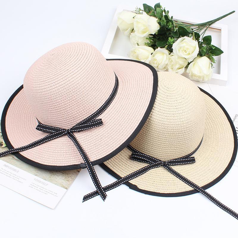 Mingjiebihuo корейская мода летняя шляпа женский дышащий лук солнцезащитный козырек складной пляж солнцезащитный крем каникул праздник соломенная ширина шляпы