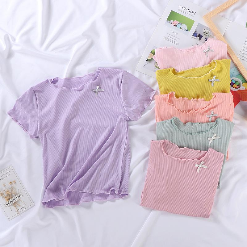 Summer INS Little Girls T-shirts Newest Short Sleeve Bow T-shirt Autumn Fashion Cotton Top 1-10 years