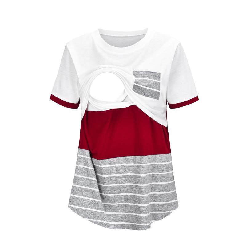 Moda europea e americana Cucitura multifunzione Allattamento Allattamento Allattamento T-shirt T-shirt Top Donna