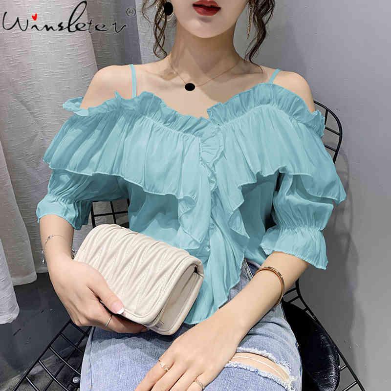 Kadın Bluzlar Gömlek Yaz Şifon Kadın Moda Kollu Spagetti Kayışı Off-the-omuz Bluz Gömlek Casual Blusa T07016B 7J