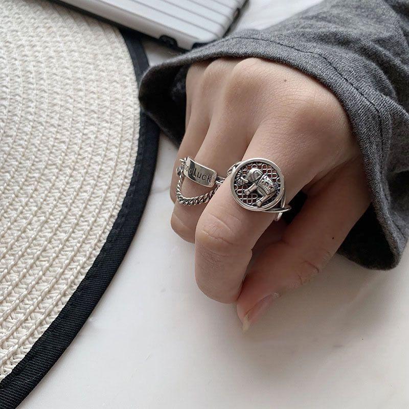Round Brand Elephant Souriant Visage Souriant Goodluck Open Femme Mode Personnalité Thai Sier Lettre Doigt Anneau Tendance