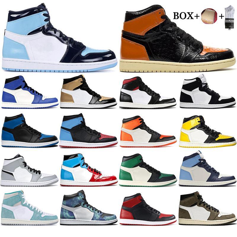 مع صندوق 2021 رجل 1 عالية og أحذية كرة السلة 1 ثانية مجنون جامعة شطب الأزرق أعلى 3 UNC Orange Sports Sneakers Size EUR 36-46