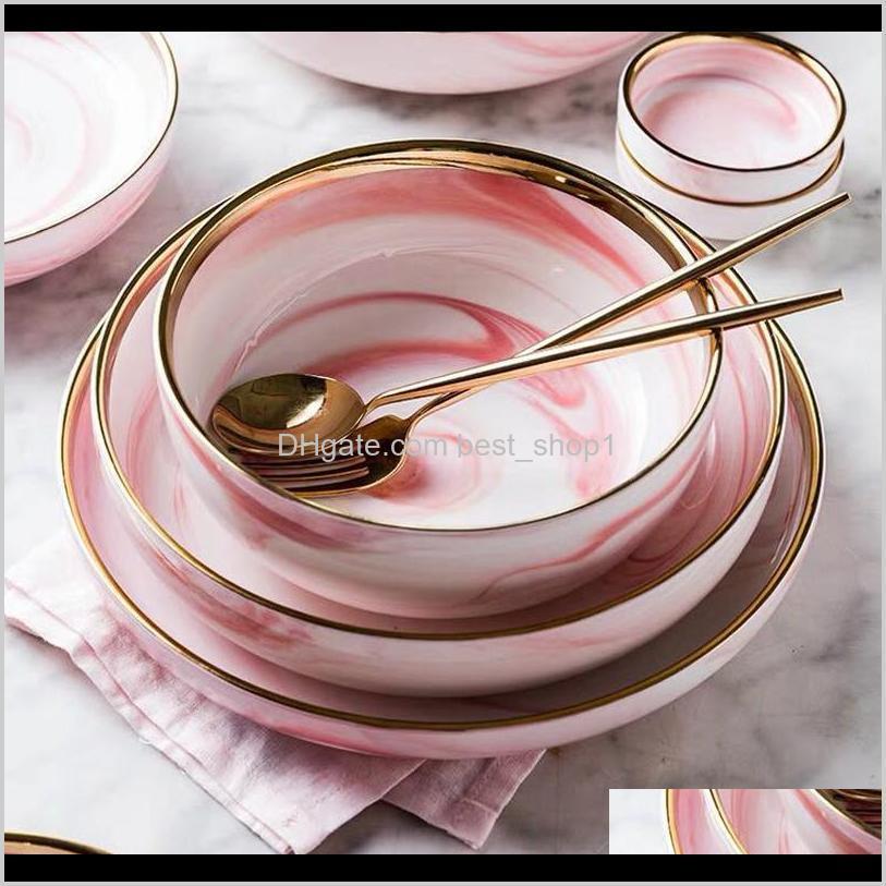 Pembe Mermer Seramik Yemeği Bulaşık Plaka Pirinç Salatası Erişte Kase Çorba Plakaları Porselen Yemek Takımları Sofra Mutfak Aşçı Aracı RWJ6K OGF3Z