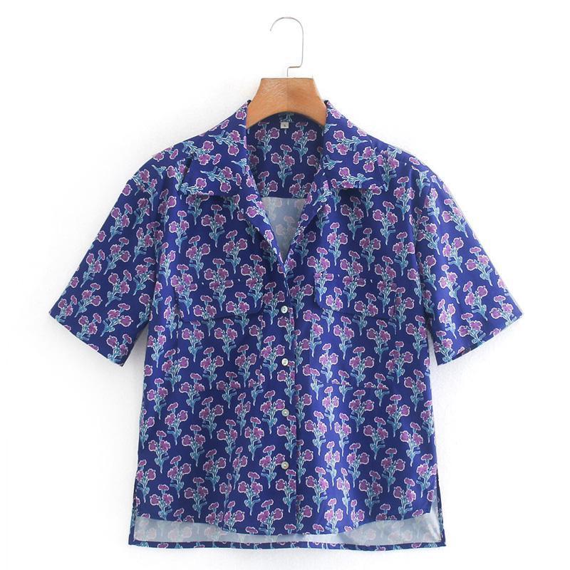 Fandy lokar casual lose down collar blusen frauen mode gedruckt shirts elegante kurze sleeve tops weibliche damen gv frauen
