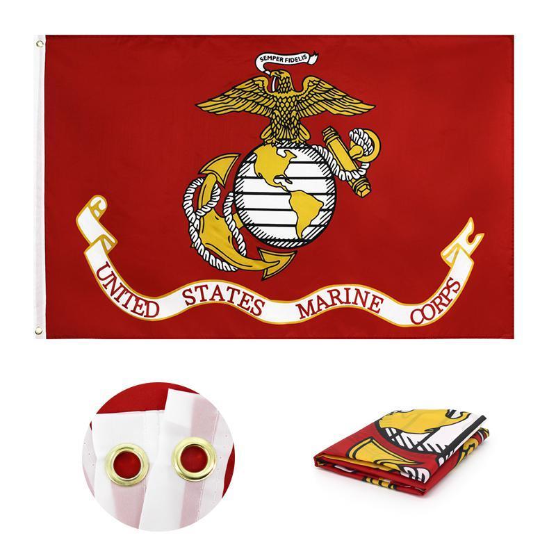 Newamerican Marine Corps 플래그 폴리 에스터 더블 스티치 고품질 미국 미국 국기 배너 정원 용품 90 * 150cm EWF7733
