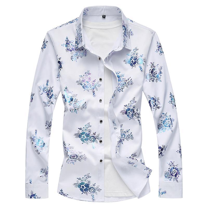 좋은 망 긴 소매 셔츠 패션 캐주얼 꽃 인쇄 남성 우아한 편안한 셔츠 대형 M-7XL 남자 탑스 남자