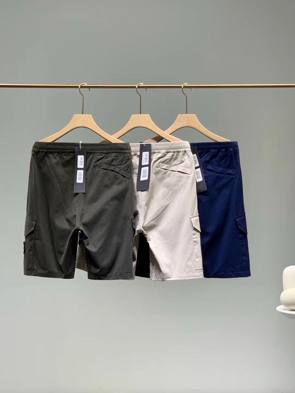 Erkek Yürüyüş Spor Adası Şort Pantolon Hafif Yumuşak Nefes Pantolon Çift Cep Işlemeli Logo Tasarım Taş Diz Boyu YKK Fermuar