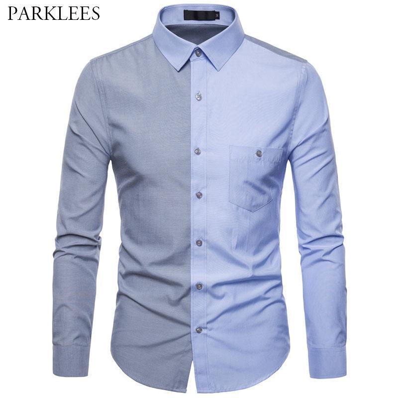 Patchwork Hit Color Shirts For Men 2021 Brand Cotton Mens Dress Casual Slim Fit Business Button Down Chemise Homme Camisa Men's