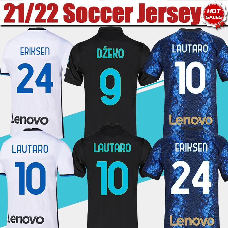 # 9 dzeko # 23 Barella Inter Home Fussball Jersey 2021/2022 # 10 lautearo # 24 Eriksen Away White Soccer Shirt 21/22 # 37 Skriniar 3rd Black Football Uniform Customized
