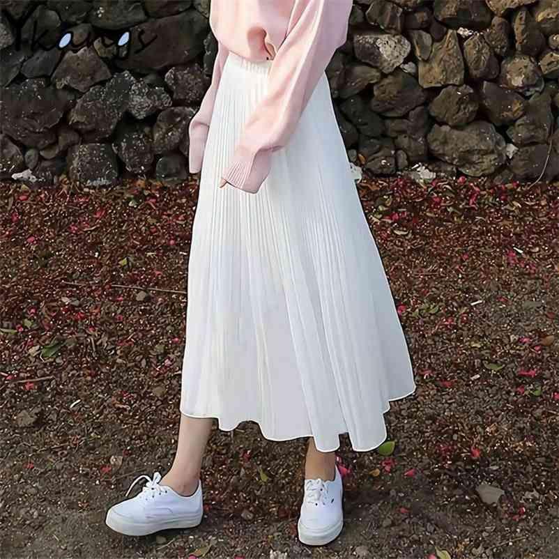 Frauen Vintage Plissee Midi Langer Rock Weibliche Korean Casual Hohe Taille Chiffon Röcke Sommer Schwarz Weiß A-Zeilenrock Jupe Faldas 210412