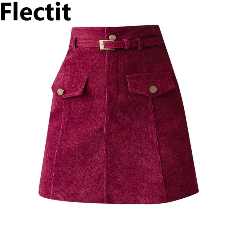 Fleckit A-Line Gürtelte Cord-Minirock-Womens-Winter-dicke Röcke mit Gürtel-Fake-Tasche * 210412