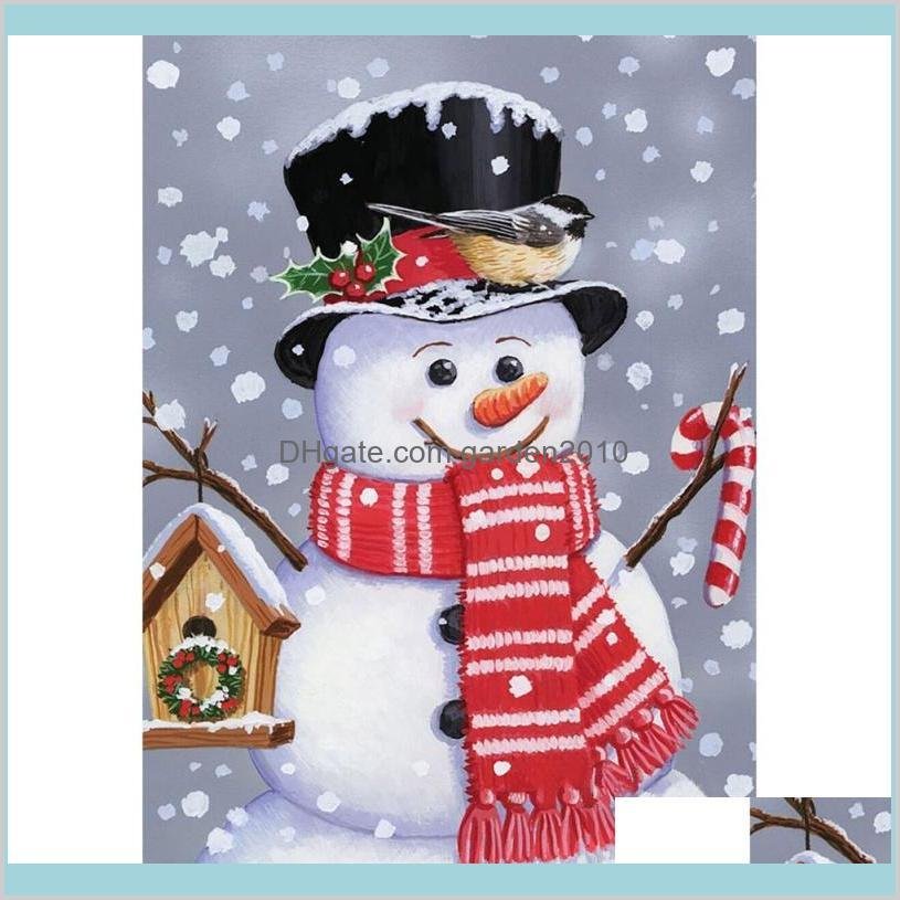 Christmas Decorations Festive & Party Supplies Home Garden 1Pc Santa Claus Reindeer Snowman Flag Indoor Outdoor Decor Winter Snowflake
