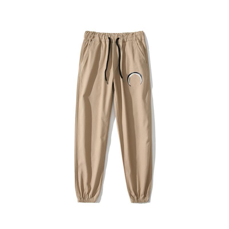 2021 Womens Pants Casual Mens a bathing ape Sweatpants Hip Hop camouflage stitching Luminous shark head Streetwear 0303
