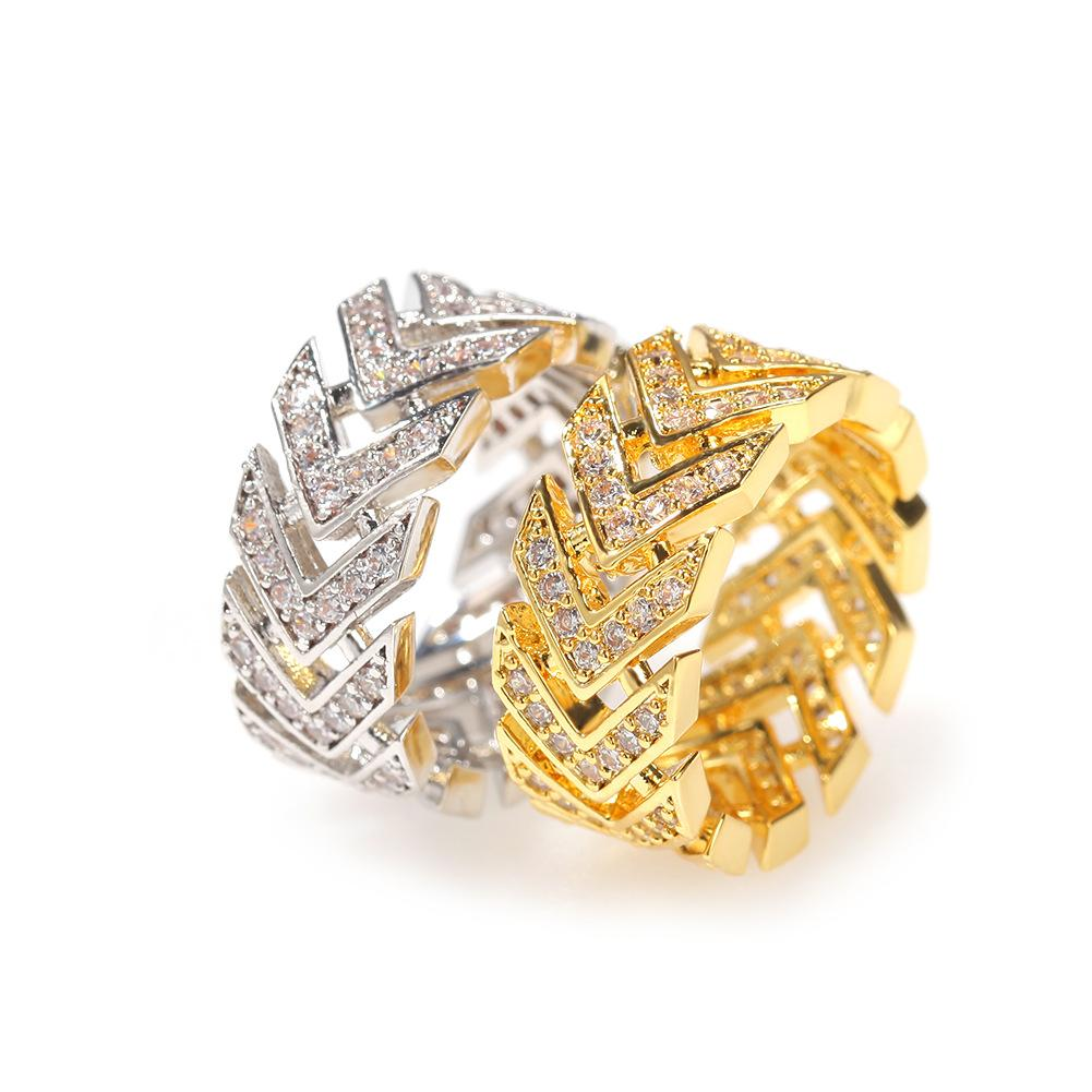 Cluster Rings Arrow Shape Bling Iced Out Cubic Zircon Hip Hop Ring For Men Women Gold/Silver Color Accessories Jewelry Gifts