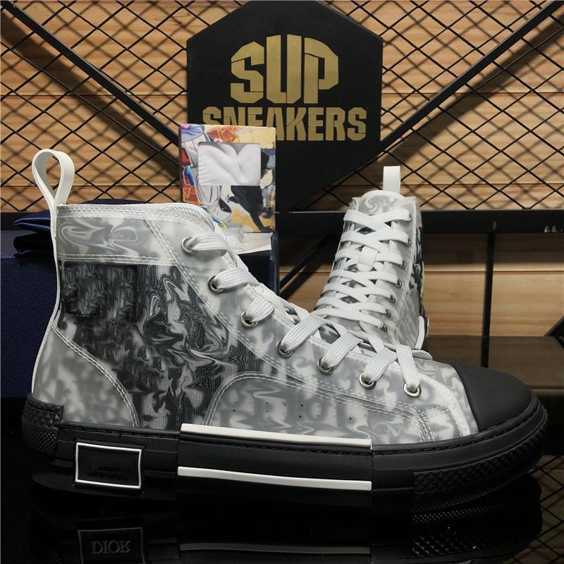 En Kaliteli Erkek Kadın Tasarımcılar Ayakkabı Modası Yumuşak Nefes Açıklaması Açık Platformu Erkek Bayan Eğik Teknoloji Tuval Rahat Trainers Sneakers ile Kutusu