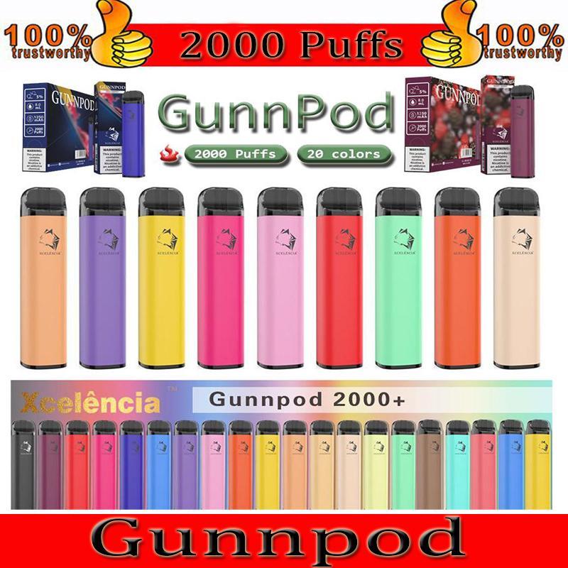 gunnpod 일회용 vape 1250mah 배터리 2000 퍼프 전자 담배 deivce 18350 8ml 기화기 스타터 키트 vs 엘프 바 20 flavs 펜 포드 퍼프 gunpod