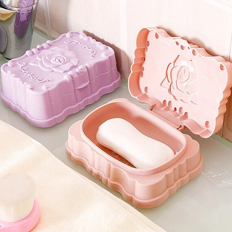 Rose Carved Portable Soap Dish Box Case Holder Wash Dust-proof Shower Home Bathroom Accessories Set 3 Color Dishes