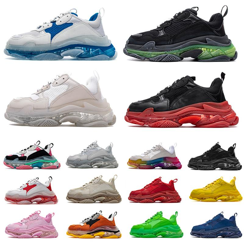 Triple S Clear sole mens Casual Shoes Black white red yellow blue dark grey Bred 17FW Bubble Midsole Neon Green increasing women men sports Sneakers old dad shoe 36-45