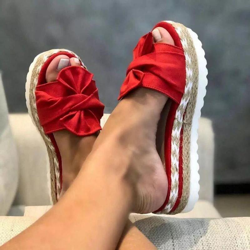 Pantoufles de mode femmes glissades bow sandales d'été bow-nœud bow-noeud semelle semelle plate-forme plate plate-forme féminine floral plage chaussures Flip flop