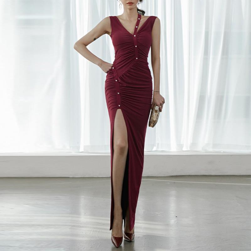 مثير عالية الجانب سبليت الخامس الرقبة ماكسي فستان طويل المرأة hloow خارج أكمام عارية الذراعين ruched فساتين 2021 الصيف سيدة الأحمر vestido رداء عارضة