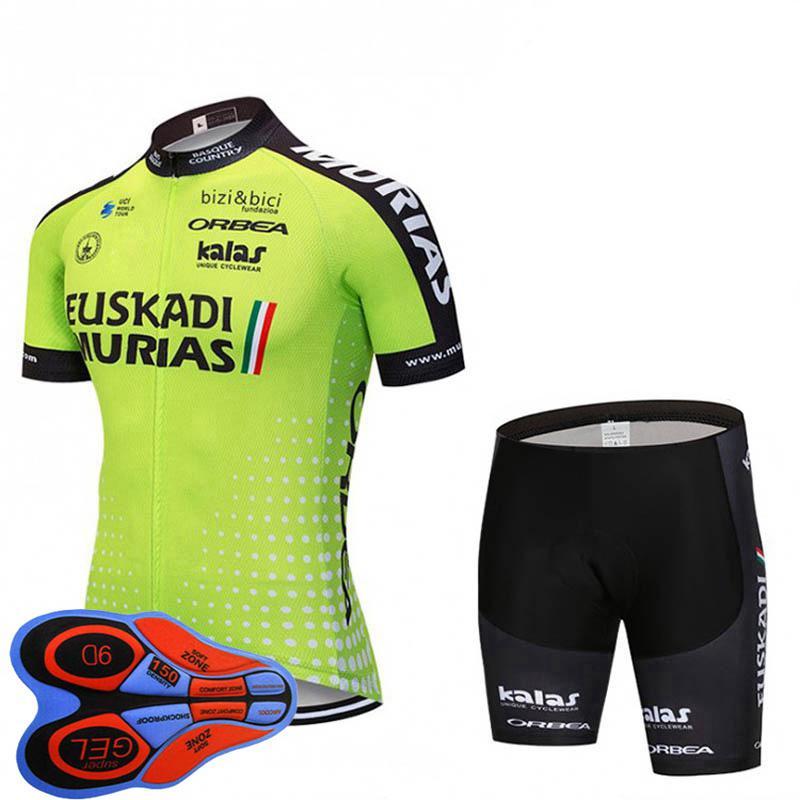 EUSKADI Equipo Ciclismo Ropa Hombres Bike Jersey Shorts 9d Gel Pad Sets Summer transpirable manga corta MTB Trajes de bicicleta Uniforme deportivo Y21033012