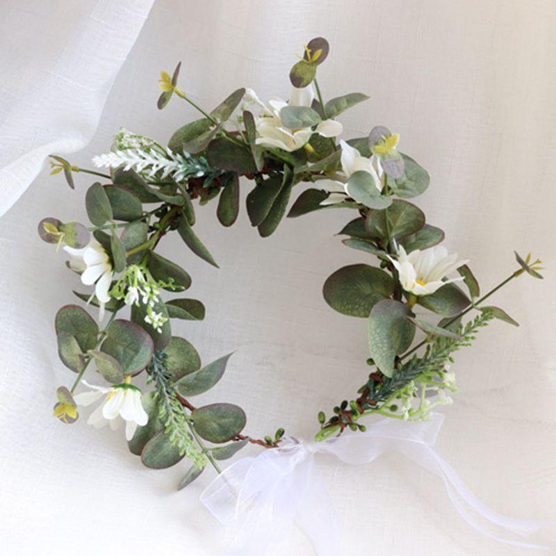 Yapay çelenk çelenk ile şerit kız çiçek taç düğün dekorasyon gelin başlığı şapkalar parti tatil aksesuarları için