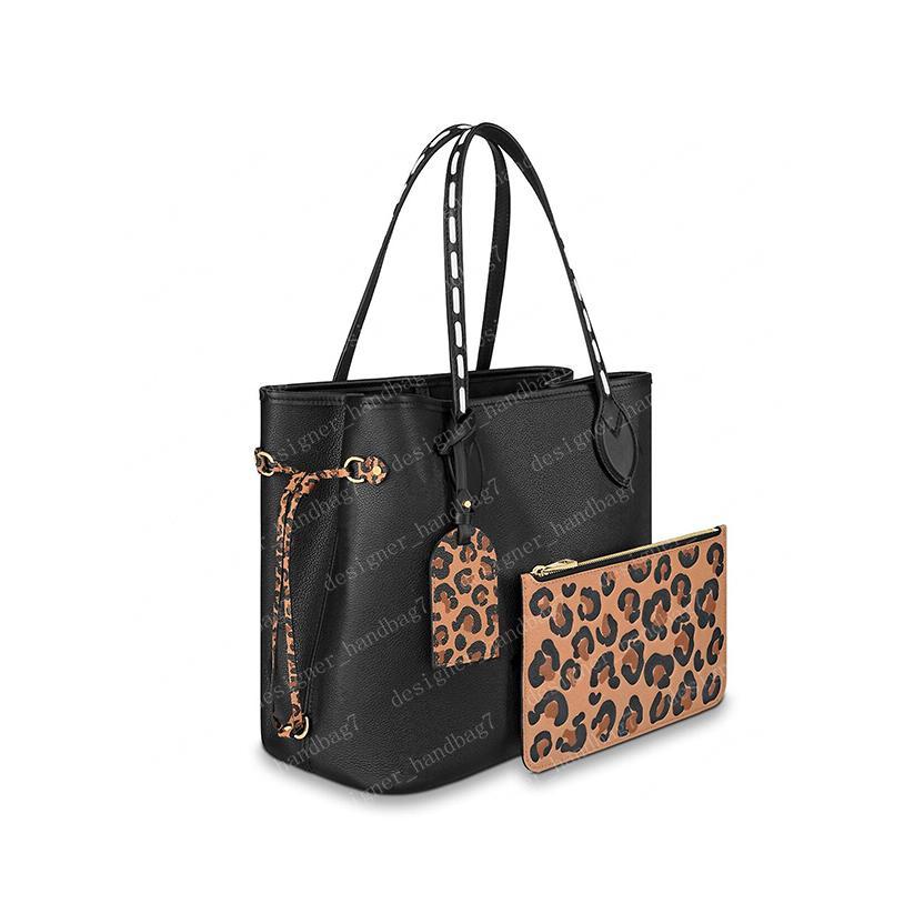 2021 Tote Handbag Mujeres Totes Bolsos Monederos Flor marrón Leopardo Cuero 45856 48525 Bolsas de compras MM Tamaño 32/29 / 17cm # LNF-01