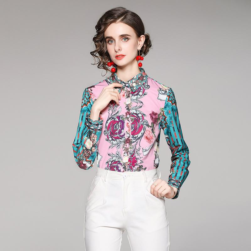 Long Sleeve Printed Runway Shirts Women 2021 Luxury Designer Turn-Down Collar Button Casual Shirt Office Ladies Classic Elegant Blouses Spring Autumn Winter Tops