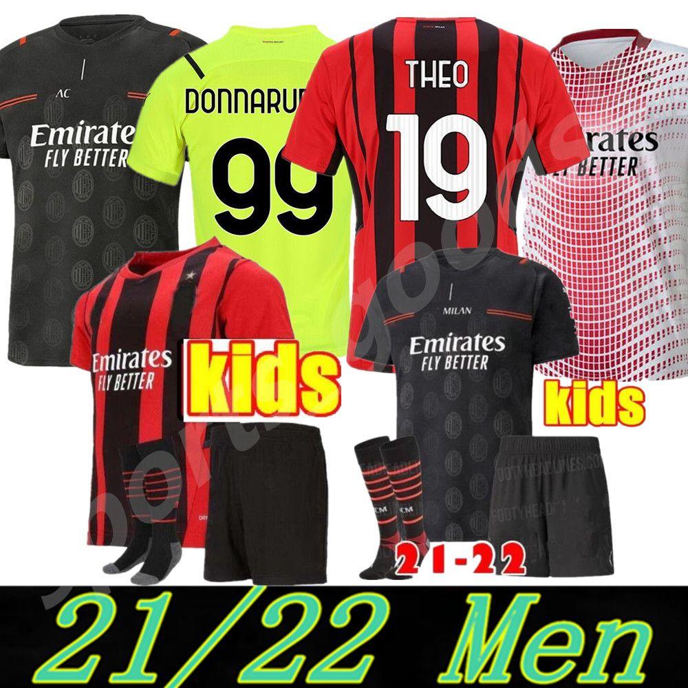 21 22 AC Milan Футбол Футбол Джерси Домашний домой 3-й 2021 2022 Ибрагимович Piatek Футбол футболка с длинным рукавом Packa Bennacer Men Camisa de Futebol