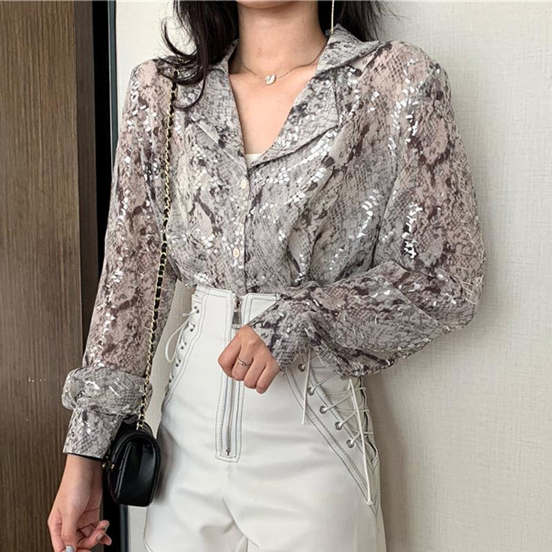 Korean Fashion Long Sleeve Button Shirt For Women Spring Autumn Snake Print Sequin Blouse Glitter Ladies Tops XZ604 Women's Blouses & Shirts