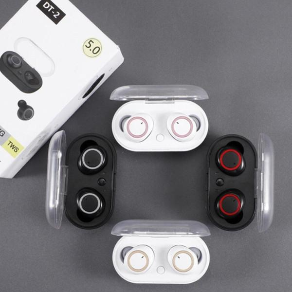DT-2 TWS Kulaklık 5.0 Bluetooth Kulaklık 3D Stereo Kablosuz Kulaklık Ile Çift Mikrofon 5.0 IN-Earphone Handfree Spor Kulaklıklar