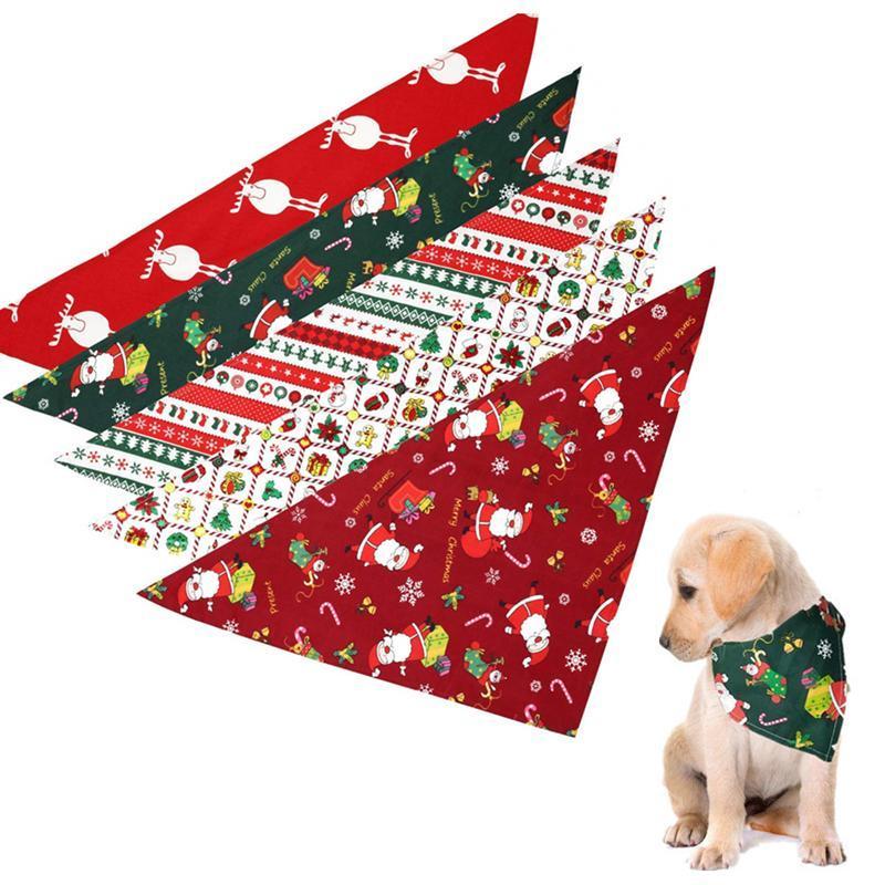الكلب الياقات المقاود عيد الميلاد الحيوانات الأليفة طوق زي وشاح باندانا سانتا كلوز مطبوعة الرقبة ضمادة المرايل خلع الملابس الملحقات
