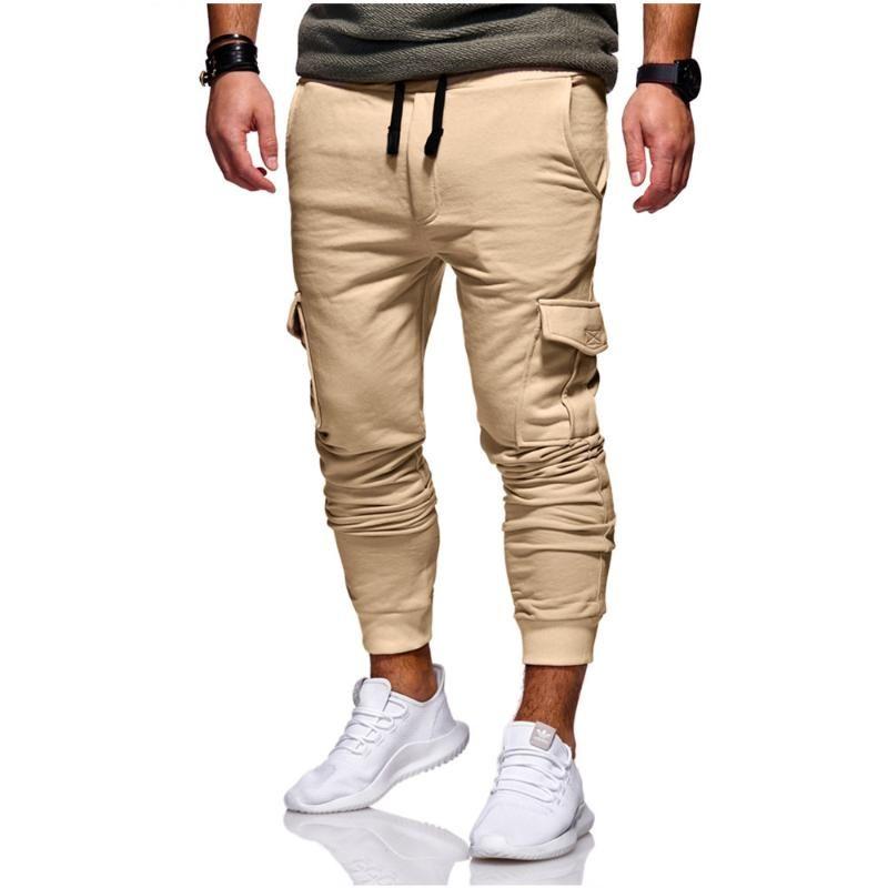Men's Pants Pure Color Men Hip Hop Long 2021 Brand Male Trousers Mens Frenulum Multi-pocket Harem Joggers 3XL