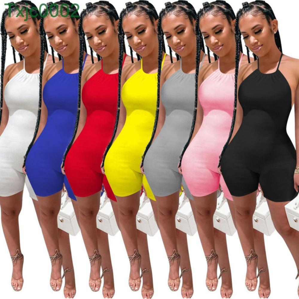 Women Jumpsuit Designer Slim Sexy U-neck Summer Hanging Neck One Piece Pants Shorts Fashion Strapping Rib Open Back Rompers 7 Colours